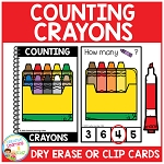 Dry Erase Counting Book/Cards or Clip Cards: Crayons - Back to School ~Digital Download~